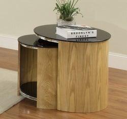 Jual Curve Oak Nest of Table - Glass JF305