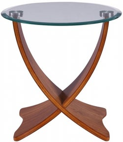 Jual Siena Walnut with Glass Top Round Lamp Table - JF309