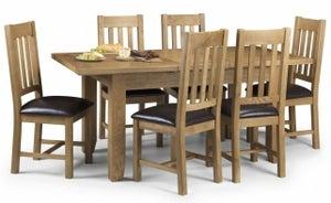 Julian Bowen Astoria Oak Extending Dining Table and 4 Chairs