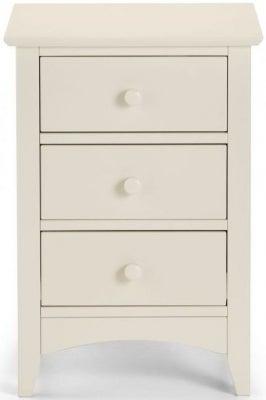 Julian Bowen Cameo White 3 Drawer Bedside Cabinet