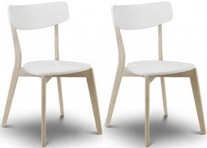 Julian Bowen Casa Dining Chair (Pair) - White and Oak