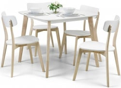 Julian Bowen Casa Square Dining Table and 4 Chairs - White and Oak