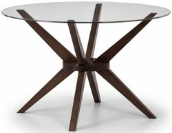 Julian Bowen Chelsea Walnut and Glass 120cm Round Dining Table