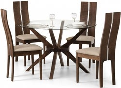 Julian Bowen Chelsea Walnut and Glass 120cm Round Dining Table and 4 Cayman Chairs
