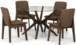 Julian Bowen Chelsea Walnut and Glass 120cm Round Dining Table and 4 Kensington Chairs