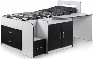 Julian Bowen White and Charcoal Cookie Cabin Bed