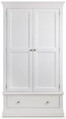 Julian Bowen Clermont White 2 Door 1 Drawer Wardrobe
