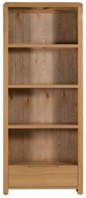 Julian Bowen Curve Oak 1 Drawer Bookcase