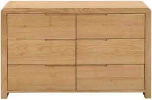 Julian Bowen Curve Oak 6 Drawer Wide Chest