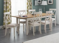 Julian Bowen Davenport Oak and Ivory Painted Extending Dining Table and Chairs