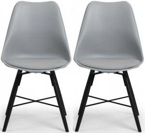 Julian Bowen Kari Black and Grey Faux Leather Dining Chair (Pair)