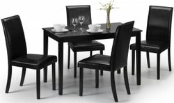 Julian Bowen Hudson Black Dining Table and 4 Faux Leather Chairs