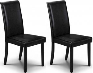 Julian Bowen Hudson Black Faux Leather Dining Chair (Pair)