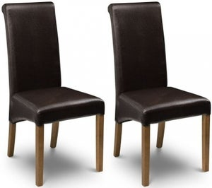 Julian Bowen Cuba Brown Faux Leather Dining Chair (Pair)