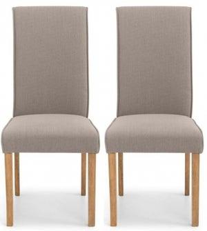 Julian Bowen Seville Taupe Linen Fabric Dining Chair (Pair)