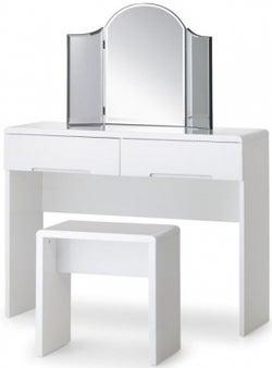 Julian Bowen Manhattan White High Gloss 2 Drawer Dressing Table
