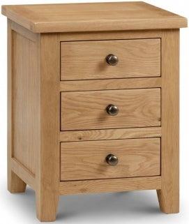 Julian Bowen Marlborough Oak 3 Drawer Bedside Cabinet