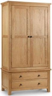 Julian Bowen Marlborough Oak 2 Door 2 Drawer Wardrobe