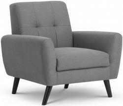 Julian Bowen Monza Grey Linen Fabric Chair