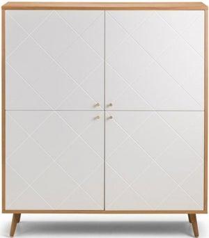 Julian Bowen Moritz Oak and White 4 Door Cabinet