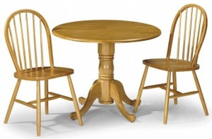 Julian Bowen Dundee Round Drop Leaf Dining Table and 2 Windsor Chairs