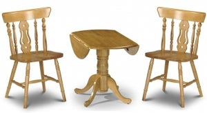 Julian Bowen Dundee Round Drop Leaf Dining Table and 2 Yorkshire Chairs