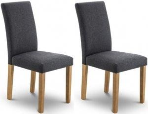 Julian Bowen Hastings Oak and Slate Linen Fabric Dining Chair (Pair)