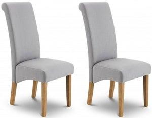 Julian Bowen Rio Light Oak and Slate Grey Fabric Dining Chair (Pair)