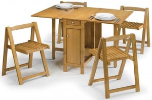 Julian Bowen Savoy Light Oak Drop Leaf Dining Table and 4 Chairs