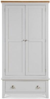 Julian Bowen Richmond Oak and Grey 2 Door 1 Drawer Wardrobe