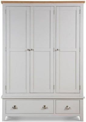 Julian Bowen Richmond Oak and Grey 3 Door 2 Drawer Wardrobe
