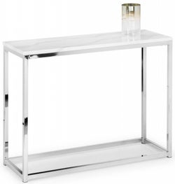Julian Bowen Scala White Marble and Chrome Console Table