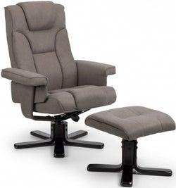 Julian Bowen Malmo Grey Linen Fabric Swivel Recliner Chair with Footstool