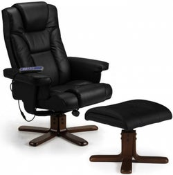 Julian Bowen Malmo Black Faux Leather Recliner Chair and Stool
