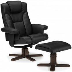 Julian Bowen Malmo Black Faux Leather Recliner Chair with Footstool