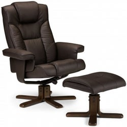 Julian Bowen Malmo Brown Faux Leather Recliner Chair with Footstool