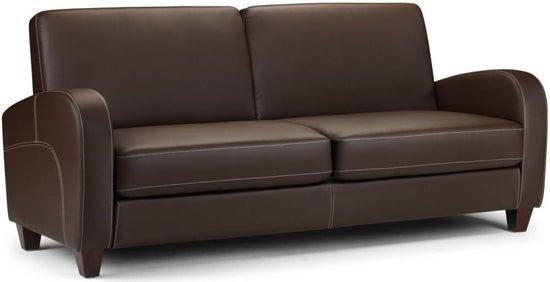 Julian Bowen Vivo Brown Faux Leather 3 Seater Sofa