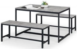 Julian Bowen Staten Concrete Effect Dining Table and 2 Benches