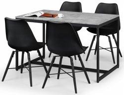 Julian Bowen Staten Concrete Effect Dining Table with 4 Kari Black Chairs
