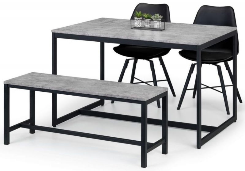 Julian Bowen Staten Concrete Effect Dining Table with 2 Kari Black Chairs and Bench