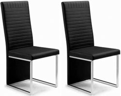 Julian Bowen Tempo Black Faux Leather Dining Chair (Pair)