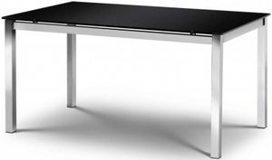 Julian Bowen Tempo Glass Black and Chrome Dining Table