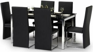 Julian Bowen Tempo Glass Black and Chrome Dining Table and 6 Chairs