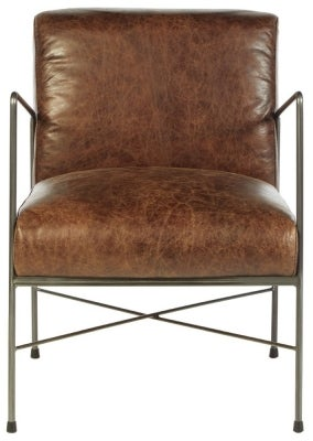 Bexley Genuine Brown Leather Dining Chair