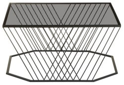 Brisbane Black Coffee Table with Grey Glass Top