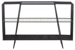 Brisbane Black Console Table with Grey Glass Top