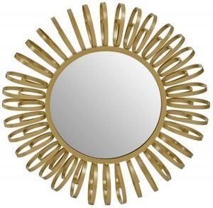 Brisbane Gold Multi Ring Design Round Wall Mirror
