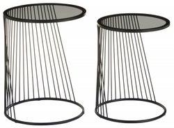 Brisbane Grey and Black Side Tables (Set of 2)