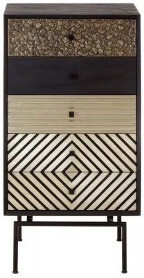 Esher Black Mango Wood 5 Drawer Cabinet
