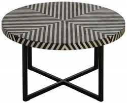 Esher Black Bone Inlay Cross Base Coffee Table